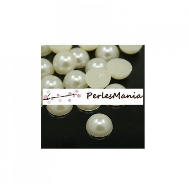 100 cabochons demi perle nacré fond plat IVOIRE Nail Art 8mm couleur 22 - Photo n°1