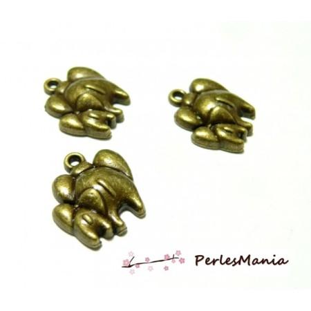 30 Pendentifs éléphant maman et bébé 2Y3804 metal couleur BRONZE - Perlesmania
