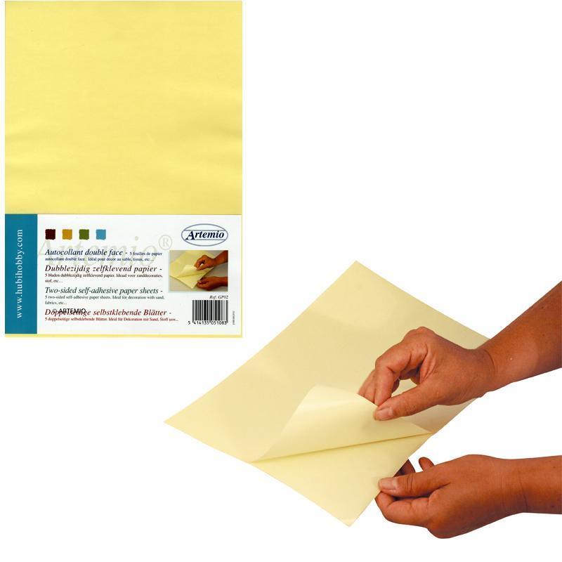 Feuille de papier autocollant double face x 5 adh sif for Papier autocollant miroir