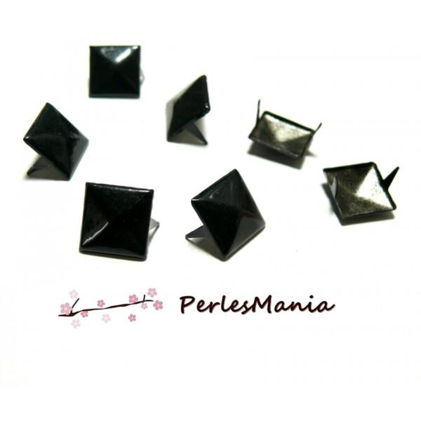 Lot de 50 CLOUS RIVETS 12mm pyramide carré à 2 griffes NOIR ref 221 - Photo e0606b4265f