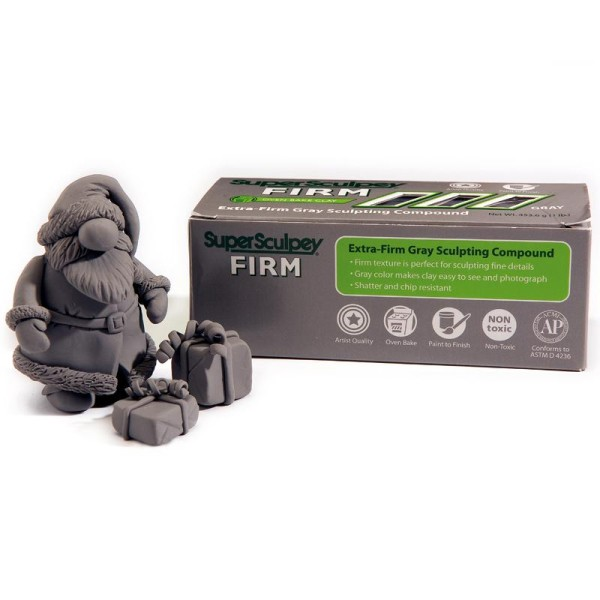 Pate super Sculpey firm ferme Grise 454 gr - Photo n°1
