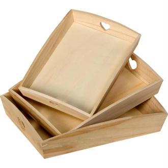 Plateau en bois Rectangle avec coeurs ajourés - Set de 3