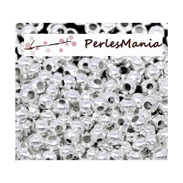 250 Perles à Écraser couleur plaqué argent 2mm