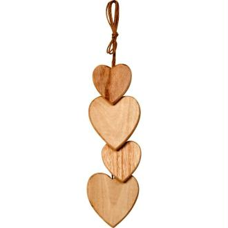 Coeurs en bois à suspendre en cascade