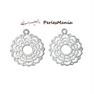 PAX 10 pendentif mandala yoga Sahasrara metal couleur ARGENT PLATINE S1175544