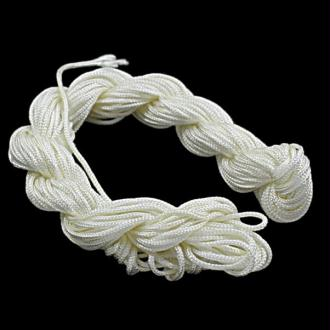 Fil shamballa nylon tressé Blanc 1 mm x 25 mètres