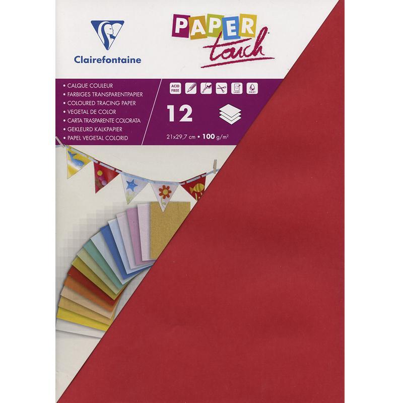 papier calque couleur paper touch a4 rouge x 12 feuilles papier calque creavea. Black Bedroom Furniture Sets. Home Design Ideas