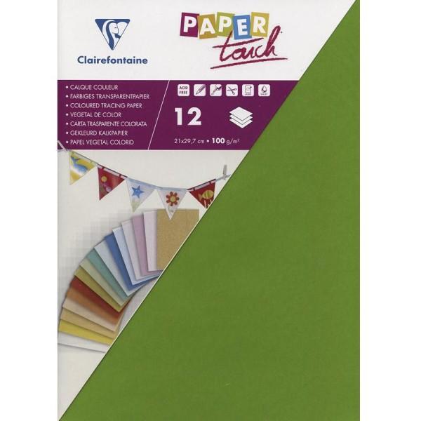 Papier calque couleur Paper Touch A4 Vert pomme x 12 feuilles - Photo n°1