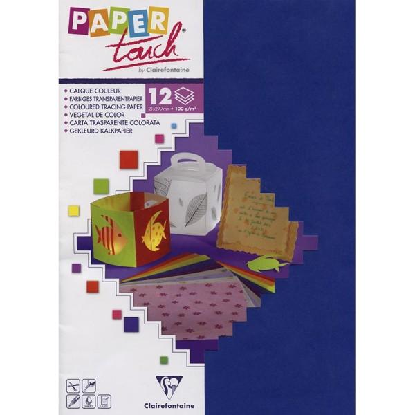 Papier calque couleur Paper Touch A4 Bleu x 12 feuilles - Photo n°1