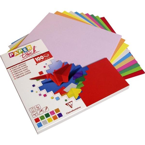 Papier origami 10 couleurs 20 x 20 cm -100 feuilles - Photo n°1