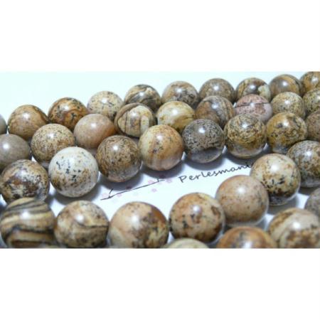 2 Perles jaspe paysage 14mm - Perlesmania