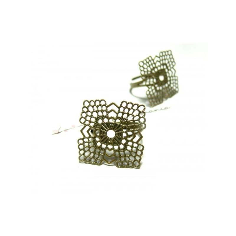 10 supports de bague art deco dentelle bronze forme carr for Journal art et decoration