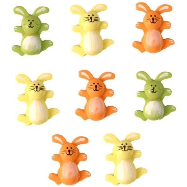 Lot 8 lapins colorés en bois peint - Photo n°1