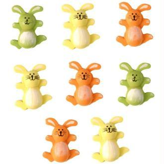Lot 8 lapins colorés en bois peint