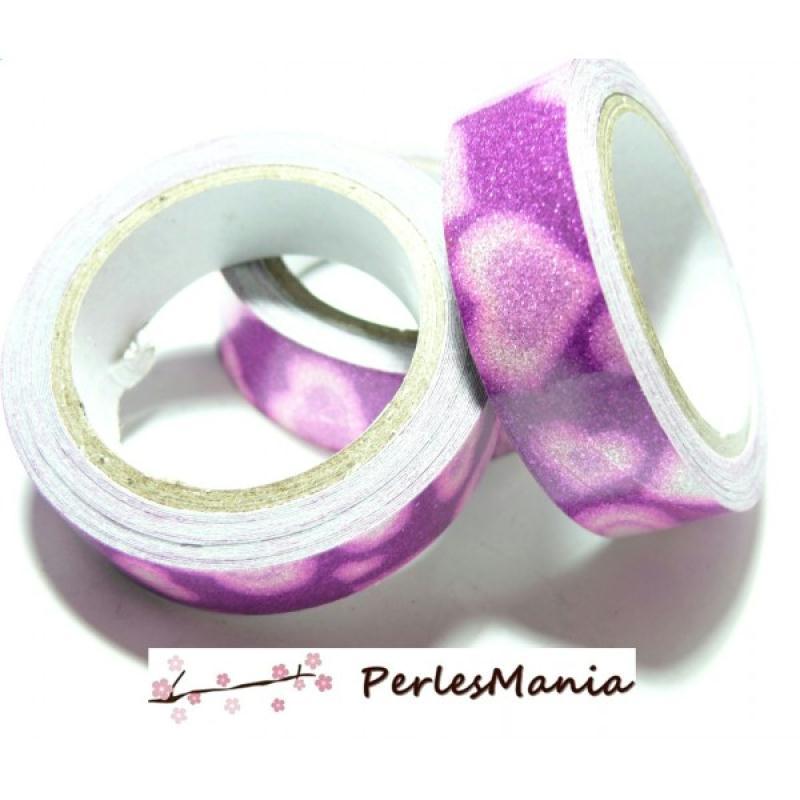 1 rouleau de masking tape ruban adhesif coton paillette rose 15mm h07911 diy customisation. Black Bedroom Furniture Sets. Home Design Ideas