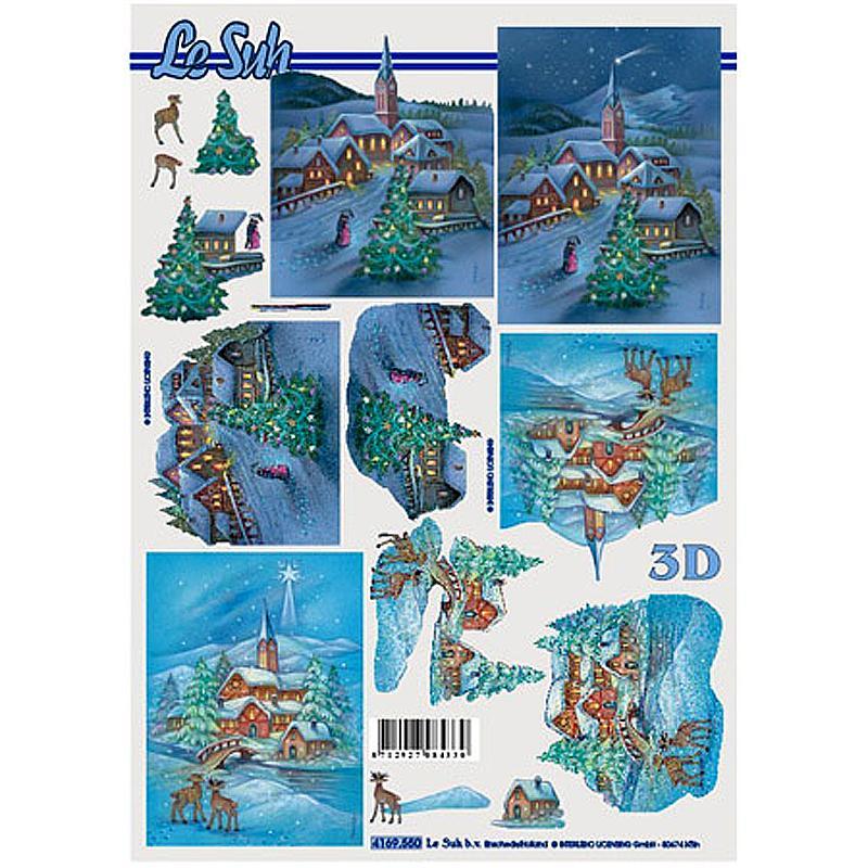 Carte 3D - Villages enneigés la nuit 21 x 29,7 cm - Photo n°1