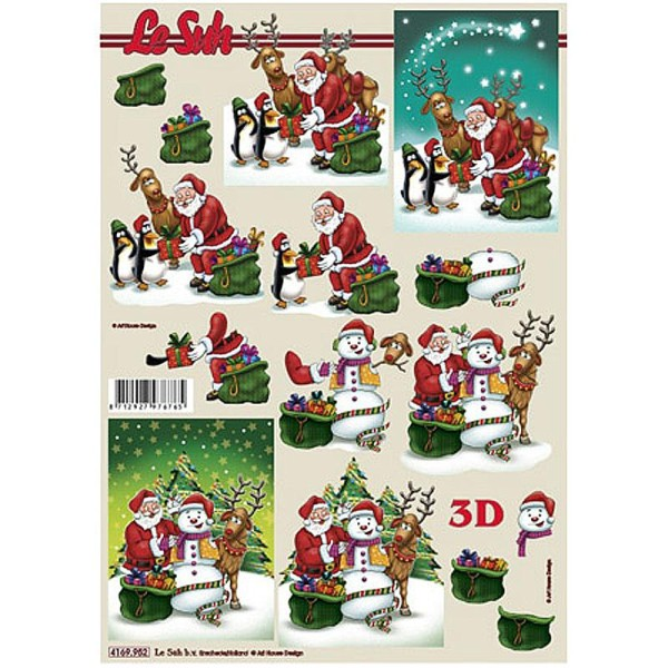 Carte 3D - Père Noël, pingouins et bonhomme de neige 21 x 29,7 cm - Photo n°1