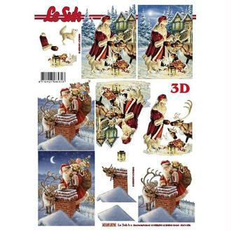 Carte 3D - Père Noël et cheminée 21 x 29,7 cm