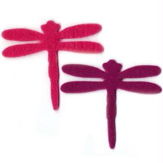 Grande libellule en feutrine 7 cm fuchsia mauve x8