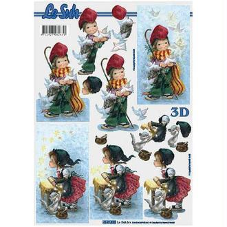 Carte 3D - Enfants, colombes et chaton 21 x 29,7 cm