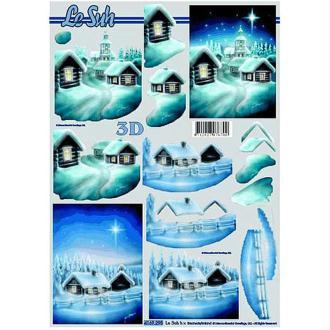 Carte 3D - Village enneigé sous un ciel étoilé 21 x 29,7 cm
