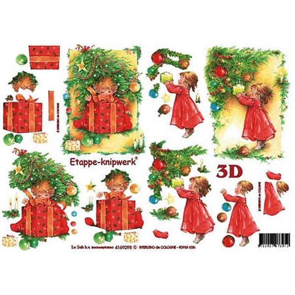 Carte 3D - Petite fille décorant le sapin 21 x 29,7 cm - Photo n°1