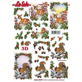 Carte 3D - Faon et écureuil 21 x 29,7 cm