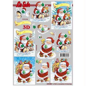 Carte 3D - Père Noël, ourson et cadeaux 21 x 29,7 cm