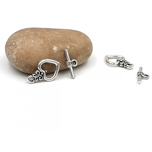 10 Fermoirs Toggles Fermoirs T Coeurs 21mm Argent Mat - Photo n°1