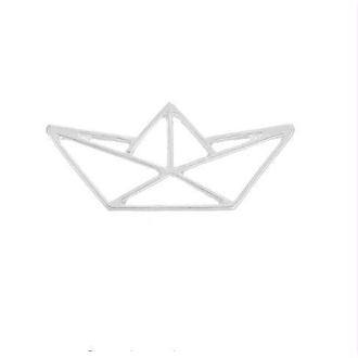 Breloque/Pendentif origami bateau 31 x 14 mm argenté