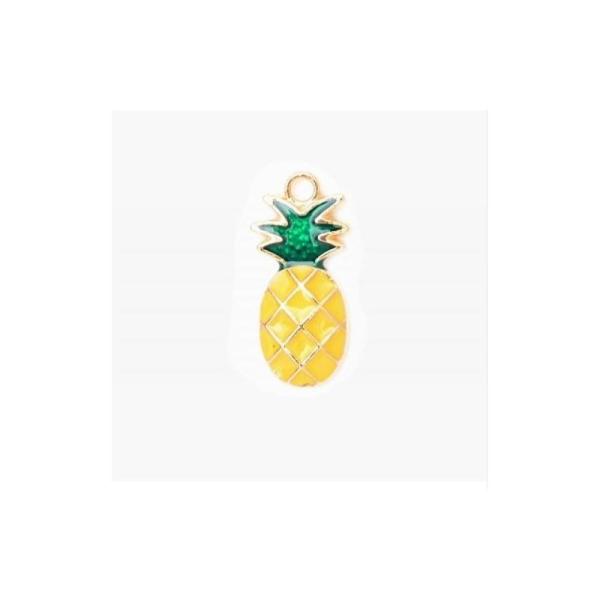 Breloque / pendentif ananas émaillé jaune 24x11mm - Photo n°1