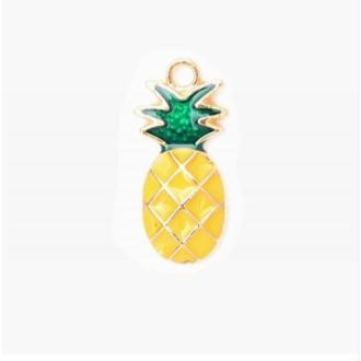 Breloque / pendentif ananas émaillé jaune 24x11mm