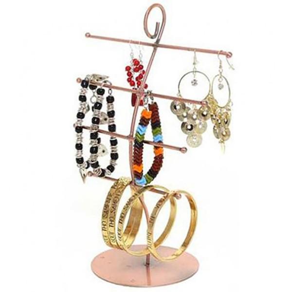 Porte bijoux présentoir à bijoux mixte 4 rangs Cuivre - Photo n°1