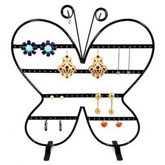 Porte bijoux porte boucle d'oreille papillon (43 paires) Noir
