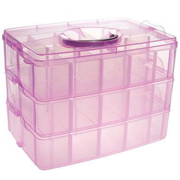 Boite De Rangement Plastique 30 Compartiments Rose Boite Rangement Perles Creavea
