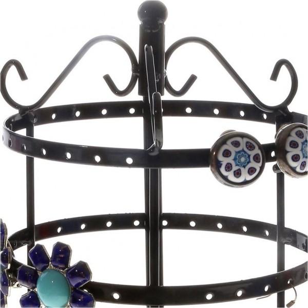 Porte bijoux porte bijoux manège à boucles d'oreilles (54 paires) Noir - Photo n°2
