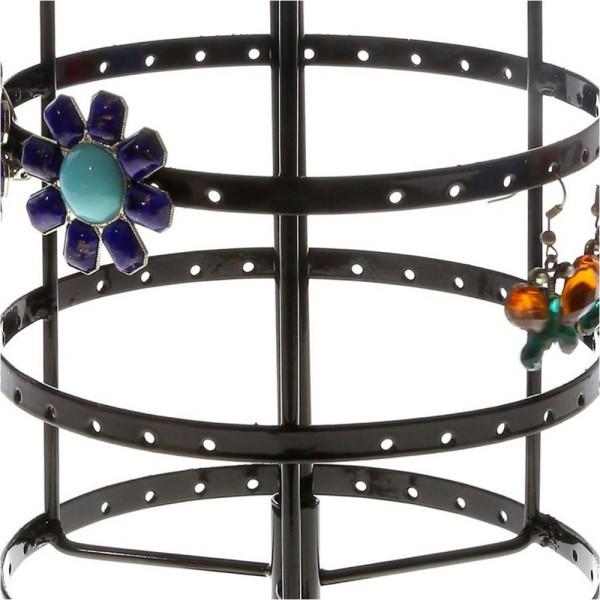 Porte bijoux porte bijoux manège à boucles d'oreilles (54 paires) Noir - Photo n°3