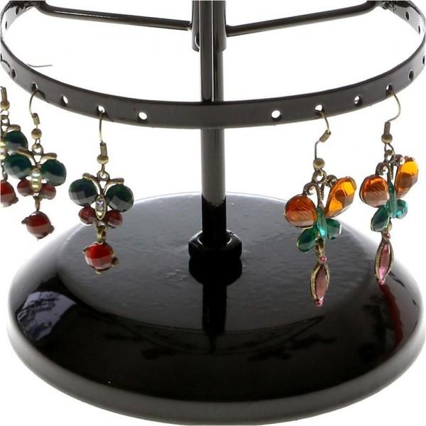 Porte bijoux porte bijoux manège à boucles d'oreilles (54 paires) Noir - Photo n°4