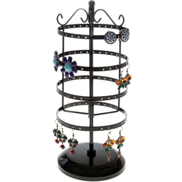 Porte bijoux porte bijoux manège à boucles d'oreilles (54 paires) Noir - Photo n°1