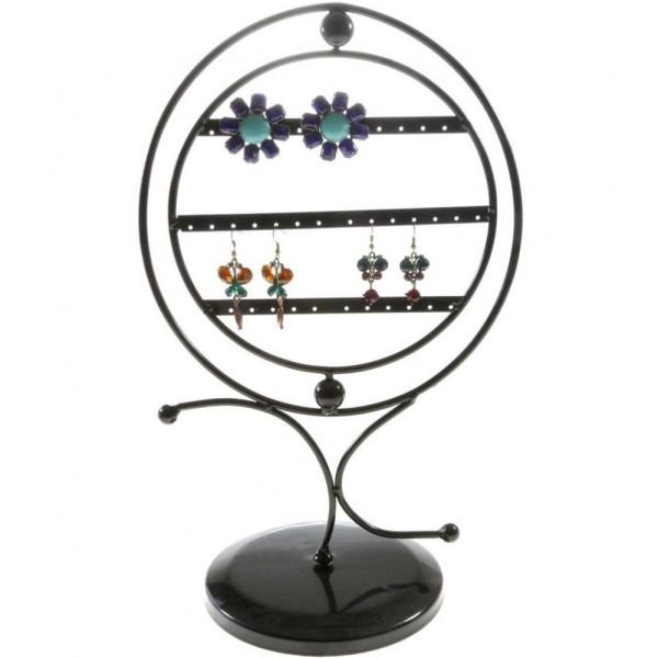 Porte bijoux porte boucle d'oreille mirror pivotant (17 paires) Noir - Photo n°1