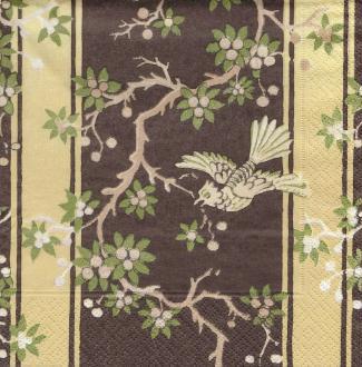 4 Serviettes en papier Asie Colibri marron Format Lunch