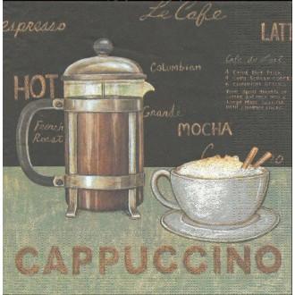 4 Serviettes en papier Café Cappucino Format Lunch