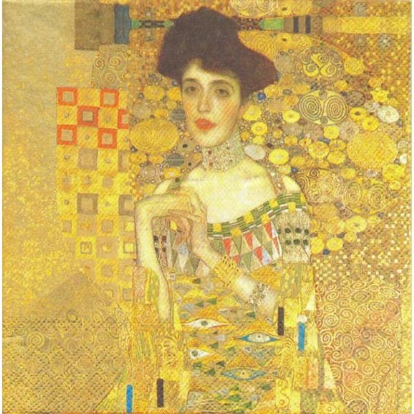 4 Serviettes en papier Klimt Adèle Bloch-Bauer Format Lunch - Photo n°1