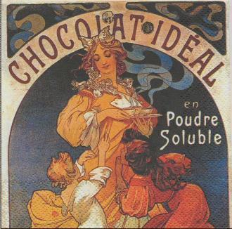 4 Serviettes en papier Publicité Chocolat Idéal Format Cocktail