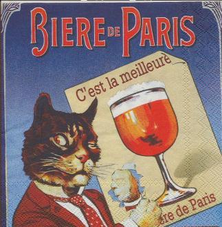 4 Serviettes en papier Publicité Bière de Paris Format Cocktail