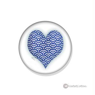 Badge Scrapbooking dos plat Adhésif 25 mm Série 6 : Cœur Bleu n°2