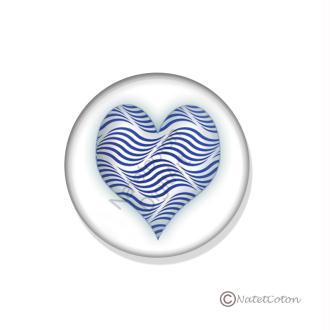 Badge Scrapbooking dos plat Adhésif 25 mm Série 6 : Cœur Bleu n°3