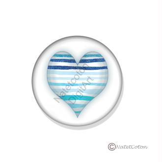 Badge Scrapbooking dos plat Adhésif 25 mm Série 6 : Cœur Bleu n°5