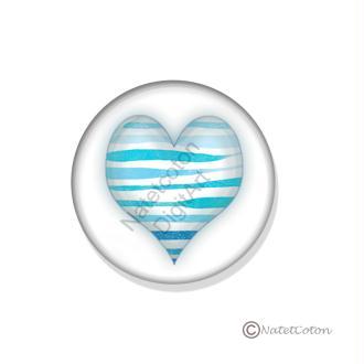 Badge Scrapbooking dos plat Adhésif 25 mm Série 6 : Cœur Bleu n°6