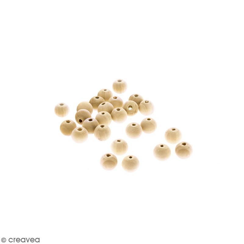 Perle en bois brut 12 mm - 25 pcs - Photo n°1